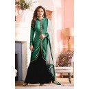 Ethnic Wear Black & Green Bhagalpuri Lehenga Suit  - 60273D