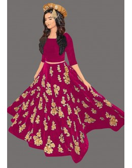 Bollywood Inspired  - Fancy Pink Velvet Lehenga Choli - 60223B