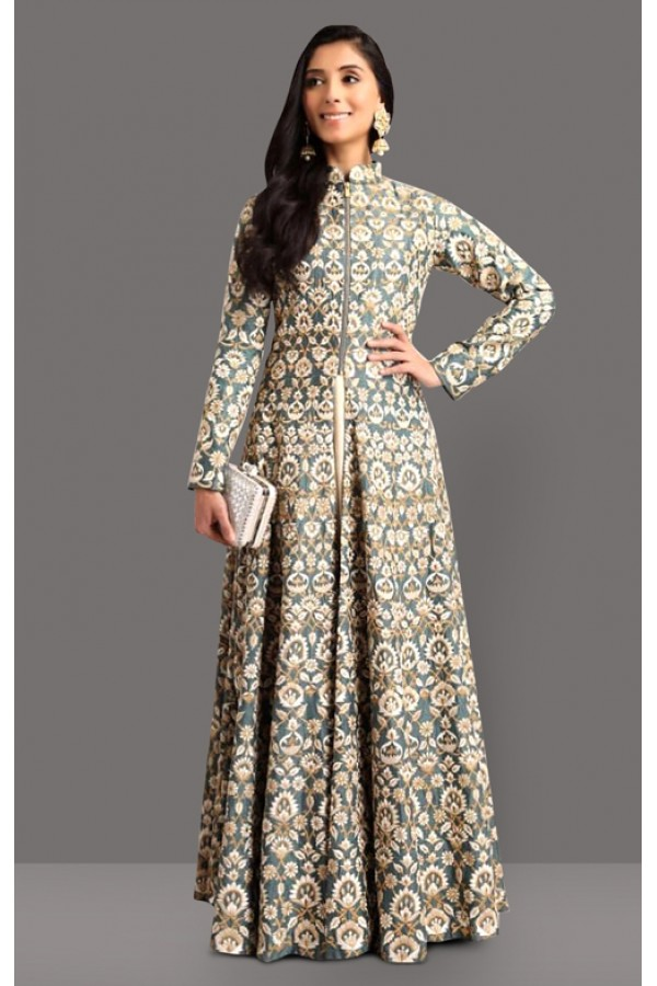 Bollywood Inspired  - Party Wear Grey Indo Western Lehenga Suit - 60281