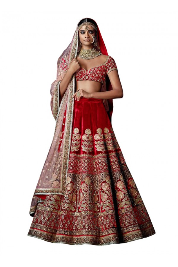 Bollywood Inspired  - Wedding Wear Red Lehenga Choli - 60274A