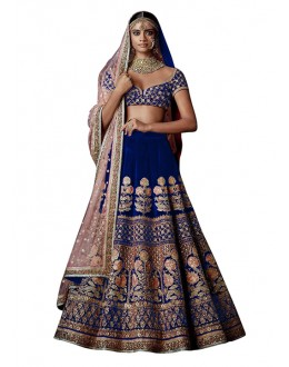 Bollywood Inspired  - Bridal Wear Blue Lehenga Choli - 60274B