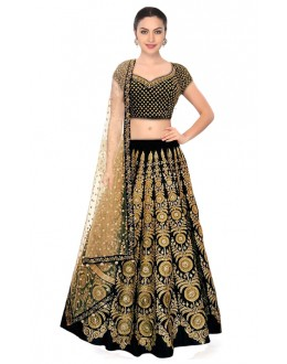 Bollywood Inspired  - Festival Wear Black Lehenga Choli - 60331