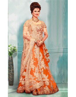 Bollywood Inspired  - Divyanka Tripathi In Orange Lehenga Choli - 60159B