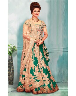 Bollywood Inspired  - Divyanka Tripathi In Green Lehenga Choli - 60159D