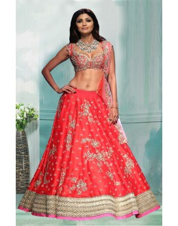 Bollywood Inspired  - Shilpa Shetty In Red Lehenga Choli - 60337