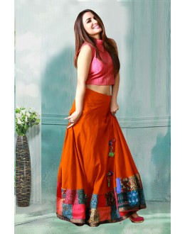 Bollywood Inspired - Party Wear Orange Crop Top Lehenga  - 60282B