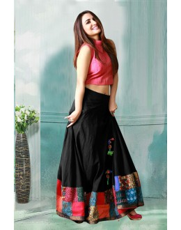 Bollywood Inspired - Black Crop Top Lehenga  - 60282C