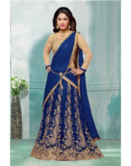 Hina Khan In Blue Net Lehenga Choli - 60355B