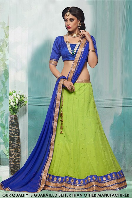 Traditional Green Net Lehenga Choli - 60416