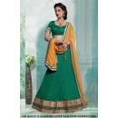 Green Net Embroidery Lehenga Choli - 60420