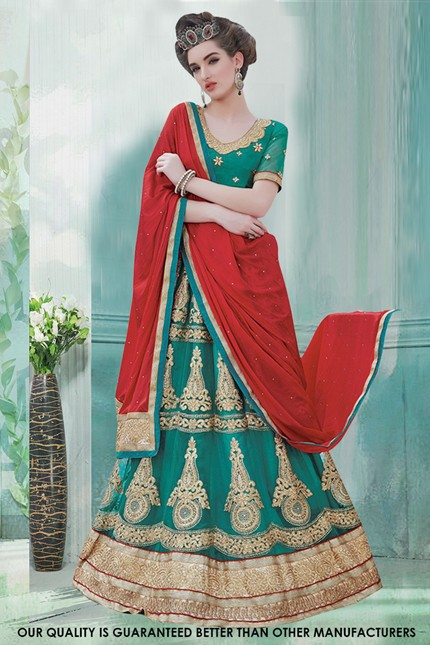 Wedding Wear Green Net Lehenga Choli - 60472
