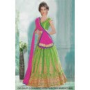 Bridal Wear Green Net Lehenga Choli - 60474