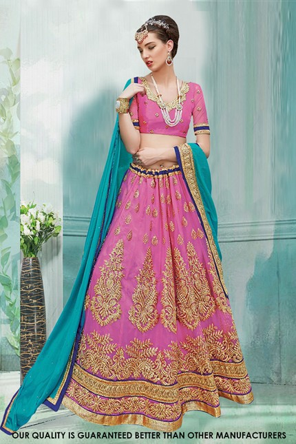 Traditional Pink Net Lehenga Choli - 60477