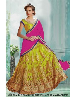 Designer Light Green Net Lehenga Choli - 60485
