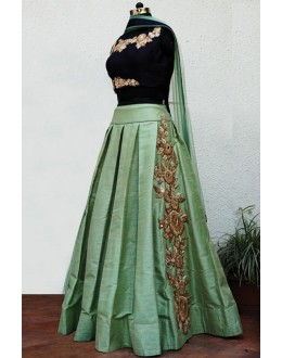 Traditional Green Poly Silk Lehenga Choli - 60535
