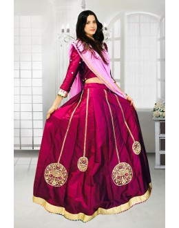 Traditional Maroon Satin Lehenga Choli - 60541