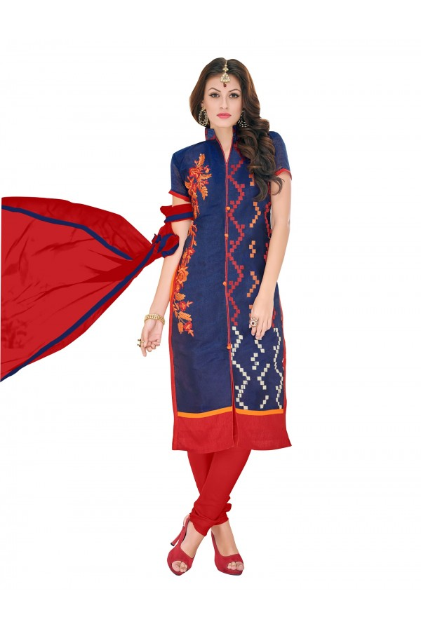 Casual Wear Chanderi Blue Churidar Suit Dress Material  - 70015