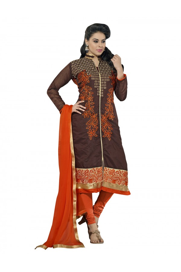 Casual Wear Chanderi Brown Churidar Suit Dress Material  - 70004