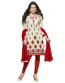 Casual Wear Chanderi Off White Churidar Suit Dress Material  - 70032