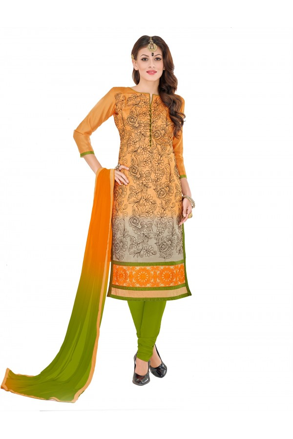 Casual Wear Chanderi Orange Churidar Suit Dress Material  - 70012
