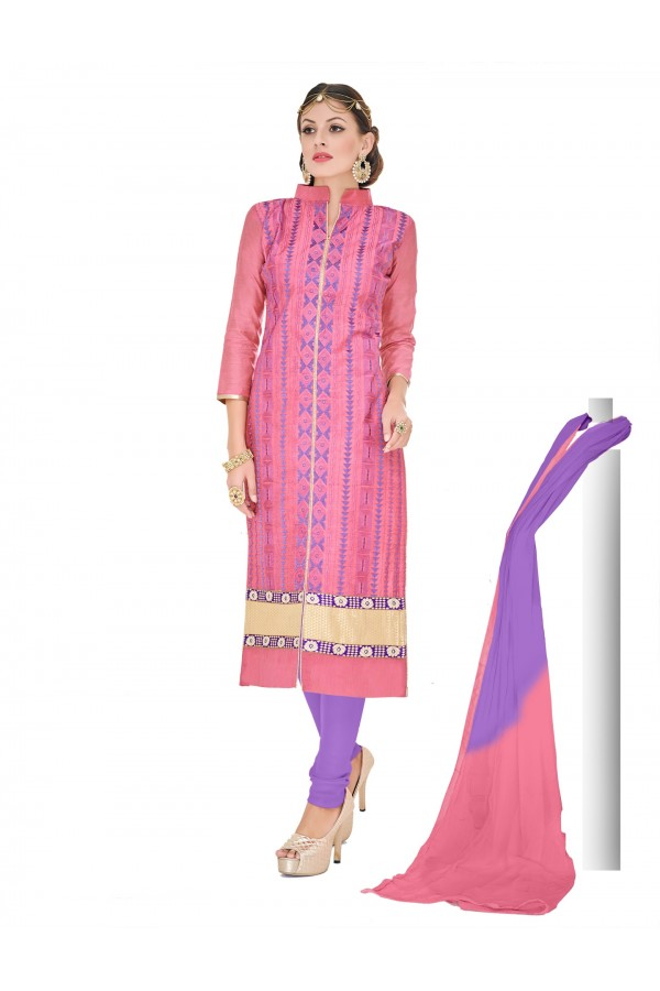 Casual Wear Chanderi Pink Churidar Suit Dress Material  - 70018