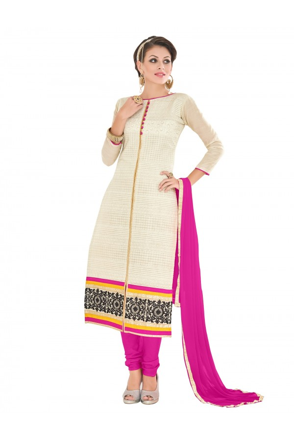 Casual Wear Chanderi White Churidar Suit Dress Material  - 70014