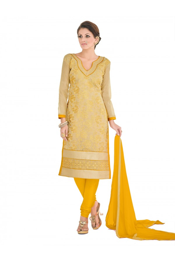 Casual Wear Chanderi Yellow Churidar Suit Dress Material  - 70020