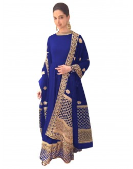 Bollywood Replica - Deepika Padukone Georgette Blue Anarkali Suit  - 70049