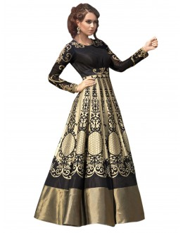Bollywood Replica- Designer Cream & Black Long Gown - 70042