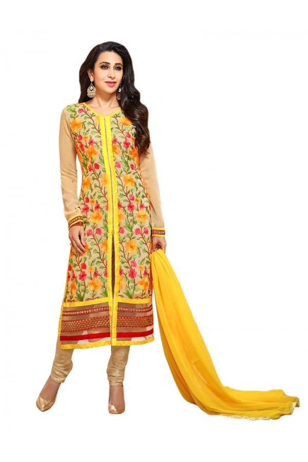 Party Wear Georgette Yellow Salwar Suit - 70064