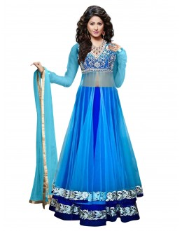 Party Wear Net Blue Lehenga Suit - 70061