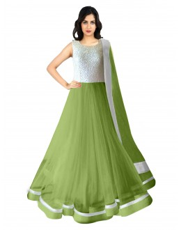 Party Wear Net Green Anarkali Suit - 70044
