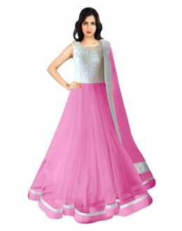 Party Wear Net Pink Anarkali Suit - 70047