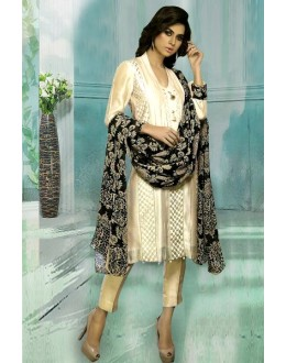 Casual Wear Bhagalpuri Cream Churidar Suit Dress Material  - 70269