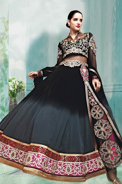 Party Wear Black Georgette Anarkali Suit  - 70245