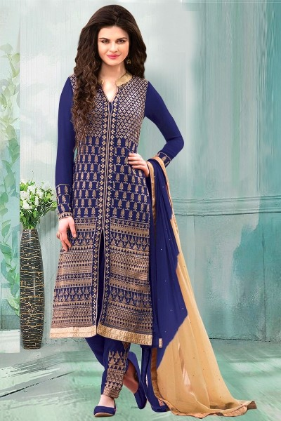Party Wear Blue Georgette Churidar Suit - 70252