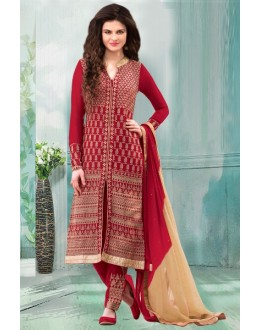 Party Wear Maroon Georgette Churidar Suit - 70251