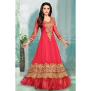 Party Wear Pink Faux Georgette Anarkali Suit  - 70257