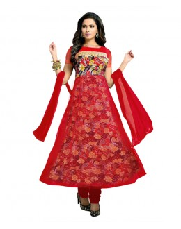 Designer Semi-Stiched Red Net Salwar Suit -  70532