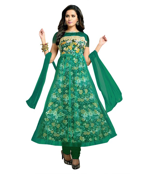 Designer Semi-Stiched Green Net Salwar Suit -  70533