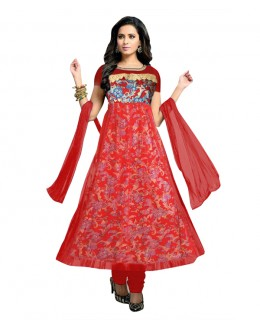 Designer Semi-Stiched Red Net Salwar Suit -  70537