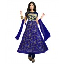 Designer Semi-Stiched Blue Net Salwar Suit -  70539
