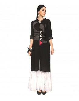 Designer Semi-Stiched Black Banglori Silk Salwar Suit -  70543