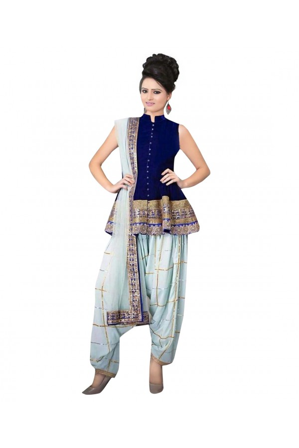 Designer Semi-Stiched Blue Banglori Silk Salwar Suit -  70544