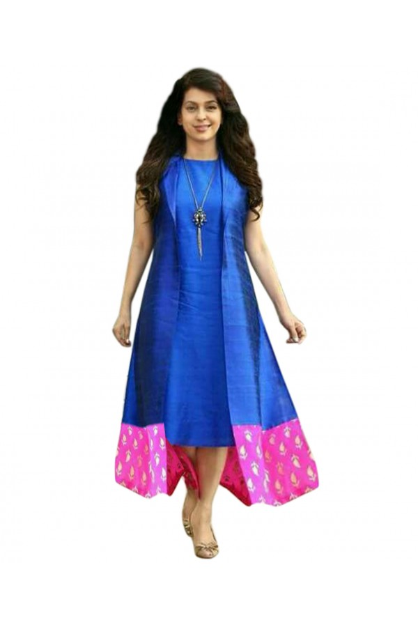 Party Wear Banglori Silk Blue Kurti - 70545