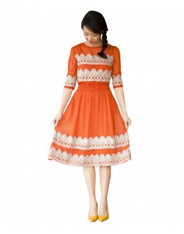 Party Wear Georgette Orange Kurti - 70553