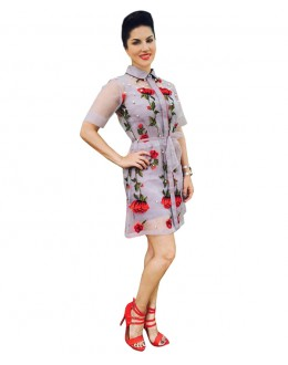 Party Wear Georgette Grey Kurti - 70556