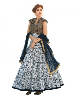 Eid Special Party Wear Blue & Cream  Bhagalpuri Gown - 70562