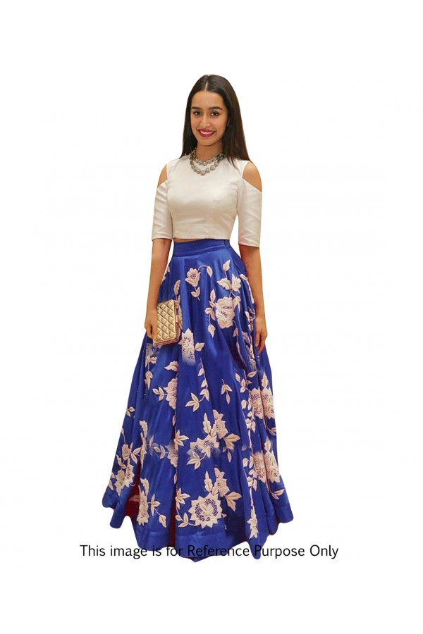 Shraddha Kapoor In Blue & White Crop Top Lehenga  - 70572