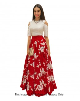 Party Wear Red & White Crop Top Lehenga - 70573